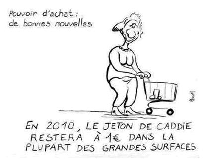 En 2010, le jeton de caddie restera à 1€ dans la plupart des grandes surfaces