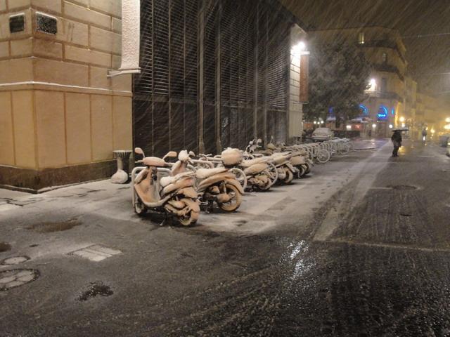 Montpellier sous la neige : rue de la loge.
