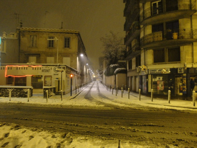 Montpellier sous la neige : rue Ferdinand Fabre