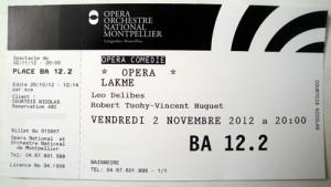 Place pour Lakmé à l'opéra Comédie